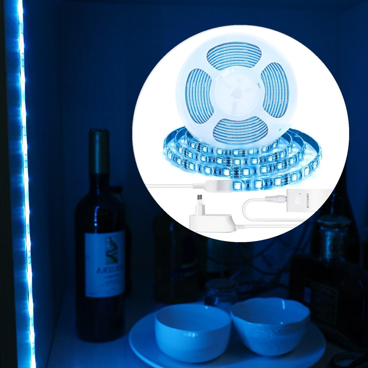 BlitzWolf® BW-LT11 2M RGBW Akıllı APP Kontrol Şeridi Işık AB Tak Kit + 2 ADET 1M LED Şeritli Işık Uzatma Plus