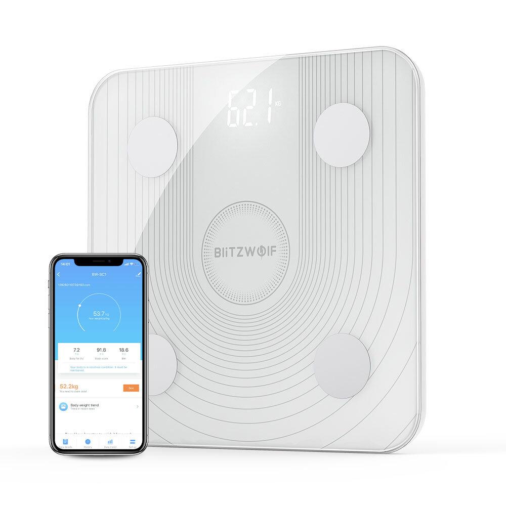 BlitzWolf® BW-SC1 WiFi Smart Body Fat Scale APP Control BMI Data Analysis with 13 Body Metrics Digital Weight Smart Scale