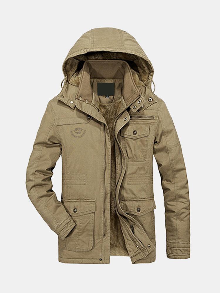 Áo khoác lông cừu nam dày ấm Kích thước lớn trùm đầu có thể tháo rời Áo khoác ngoài trời mùa đông