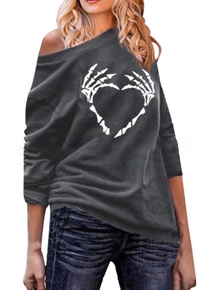 Off Shoulder Skull Print Casual Sweatshirt Hoodies
