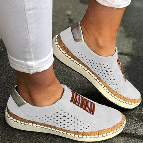 Women Genuine Leather Breathable Plus Size Casual Flats - 4