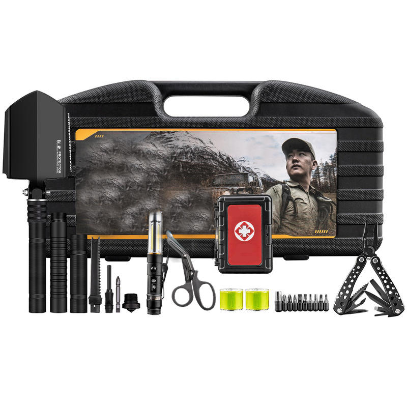 HX OUTDOORS 7 In 1 Multifunctional Tools Kit Set Box Storage Case Emergency Survival Car Shovel Outdoor Camping - 1