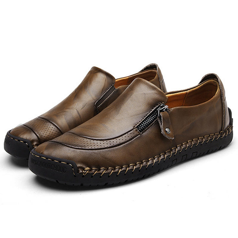 Menico Casual Comfy Soft Moc Toe Slip On Leather Oxfords - 3