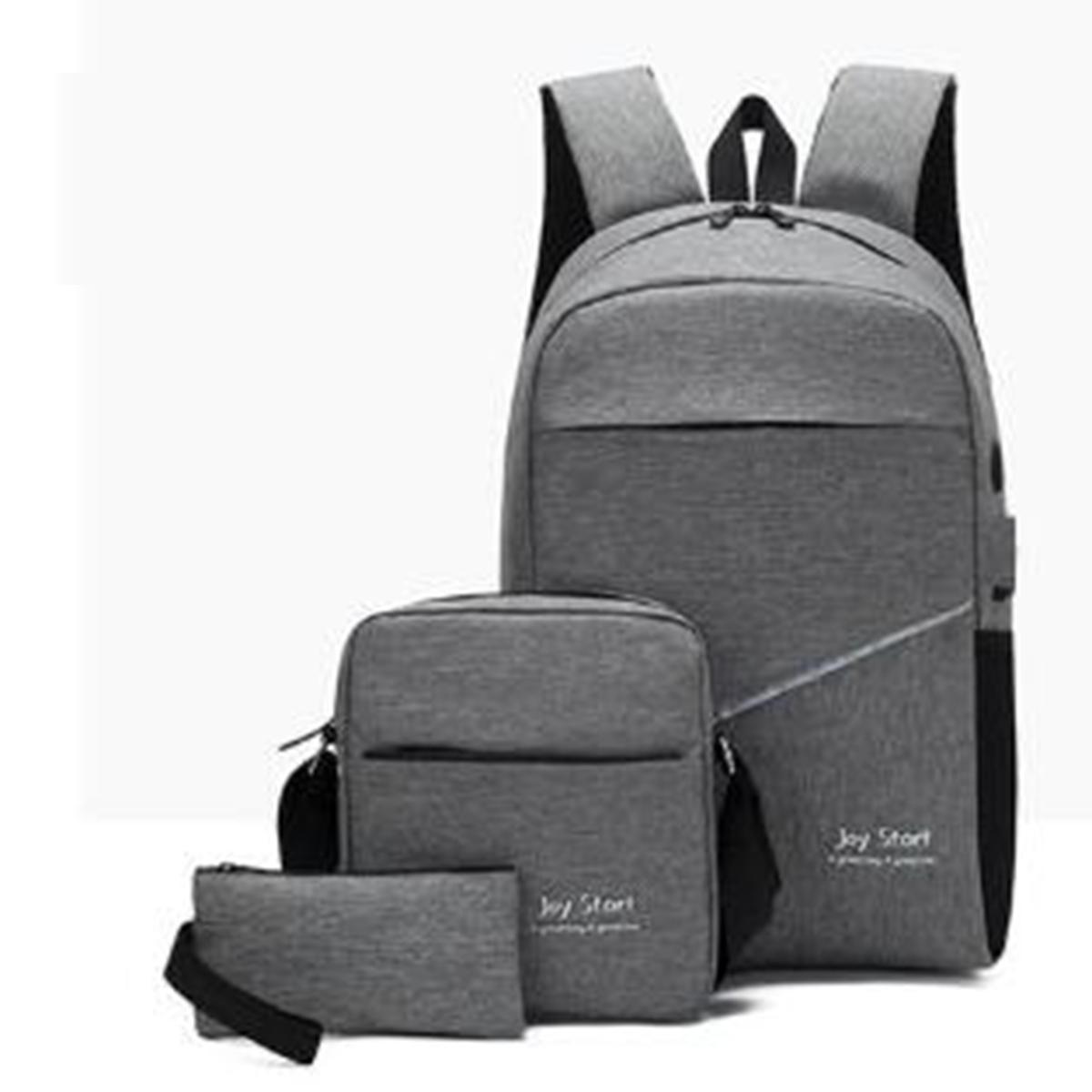 3 stk / sett Unisex Tilbake til skolen Ryggsekk Book Laptop Bag Travel Pencil Case