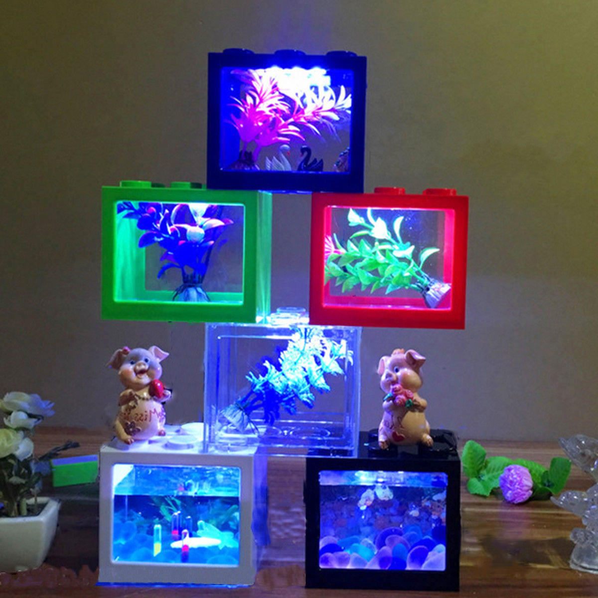Colorful Clear Mini Fish Tank Aquarium LED Light Office Desktop Ornament Decor - 6