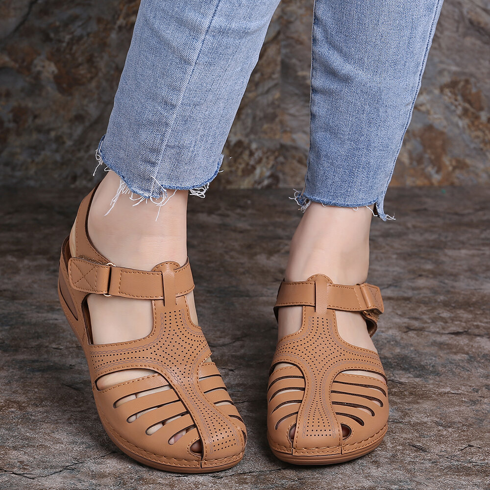 LOSTISY Women Lightweight Casual Shoes Hollow Out Soft Sole Sandals - 9