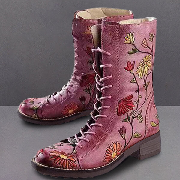 Women Fur Lining Lace Up Winter Casual Snow Ankle Boots - 1