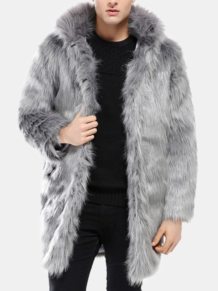 Mens Hooded Faux Fur Winter Warm Trench Coat Slim Fit Casual Black Grey Jacket - 1
