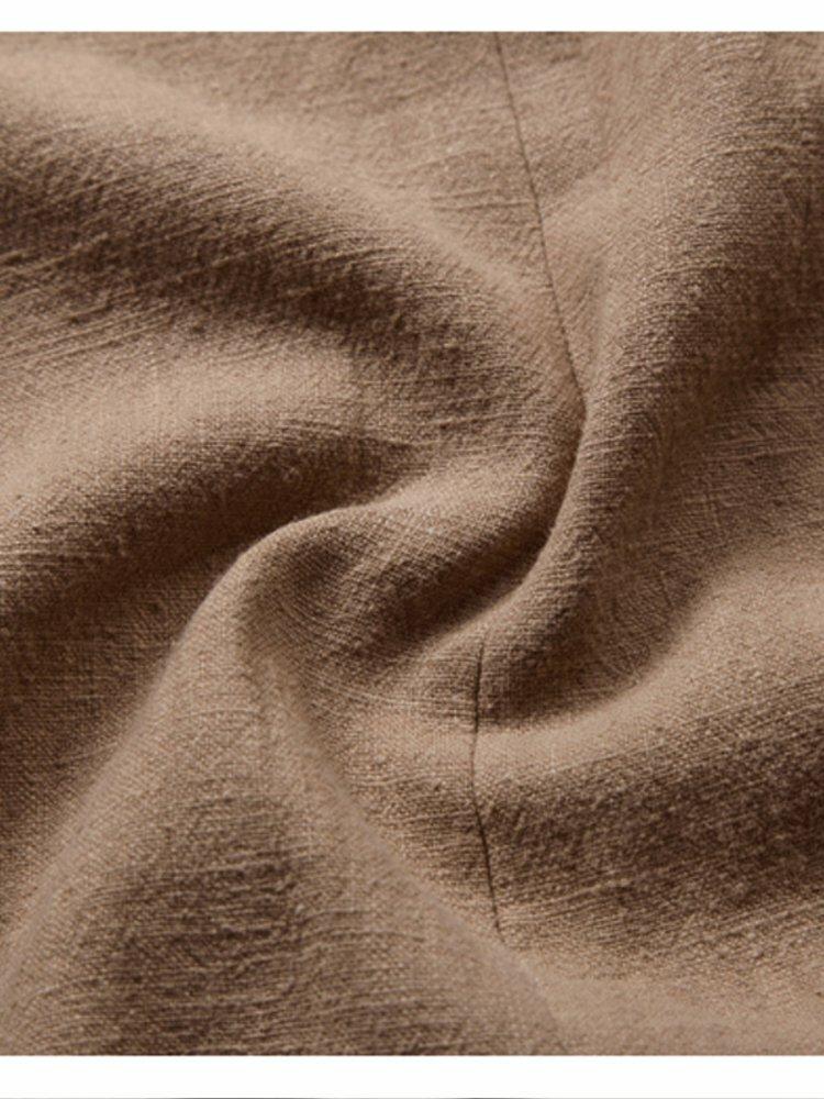 Banggood Designed Mens Corduroy Patchwork Loose Pocket Elastic Waist Breathable Shirt & Shorts - 7