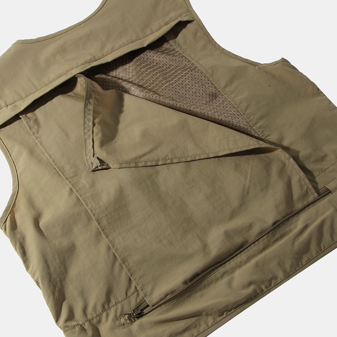 Winter Thick Warm Sleeveless Dad Vest Stand Collar Zipper Pure Color Jacket - 6