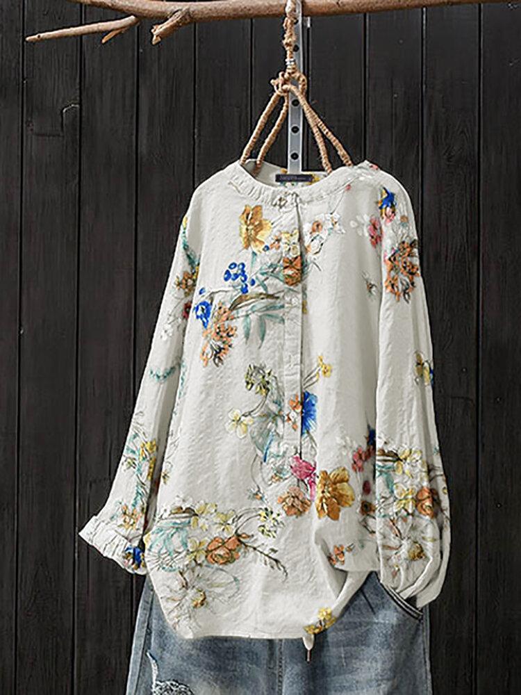 Women Retro Button Stand Collar Floral Print Blouse