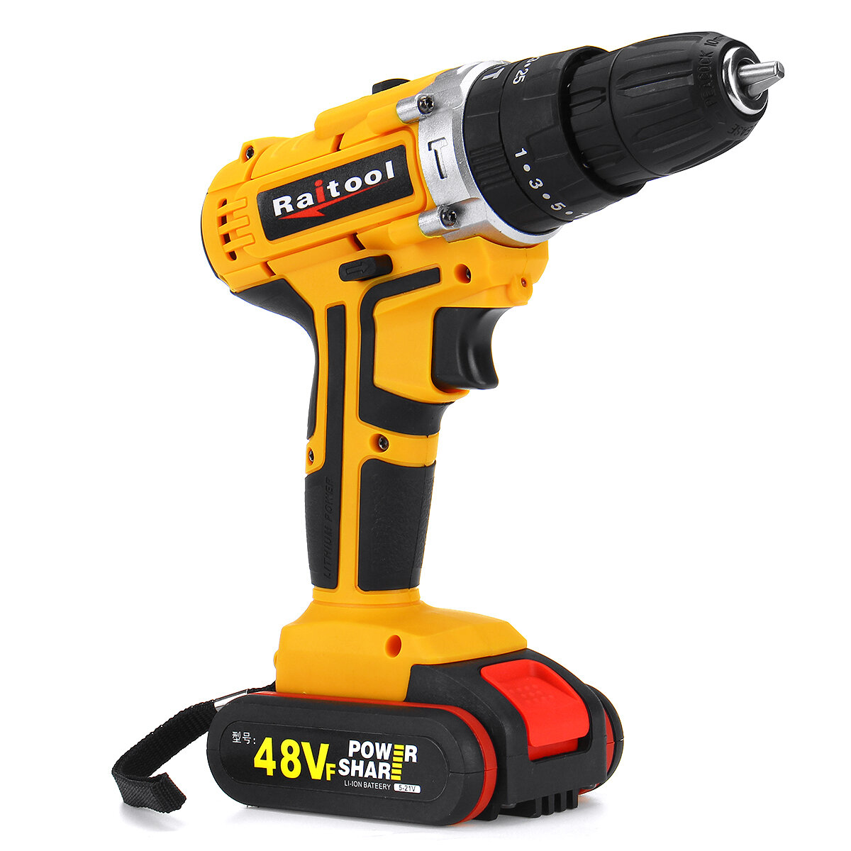 48V 3 In 1 Cordless Power Drills 15+1 Torque Drilling Tool Dual Speed Electric Screwdriver Drill W/ 1 or 2 Li-ion Battery - 4