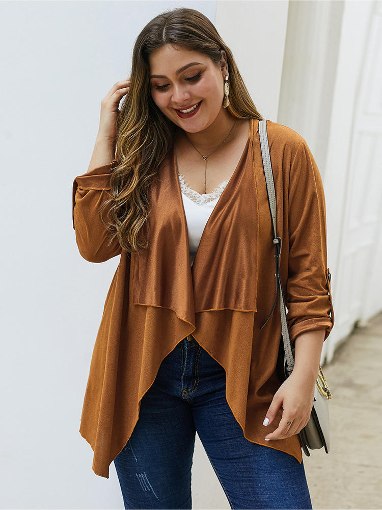 Plus Size Irregular Collar Solid Color Elegant Women Cardigans with Button