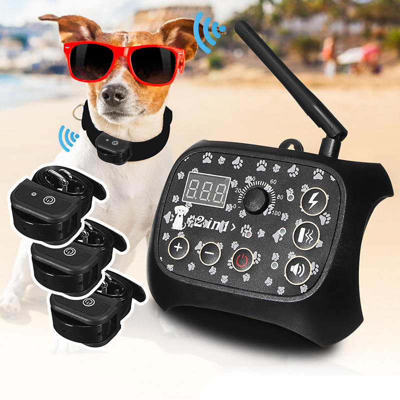 Wireless Electric Pet Fence Waterproof Collar Containment System Transmitter 1/2/3xReceiver