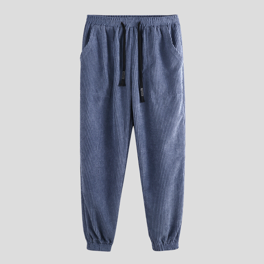 Mens Vintage Casual Baggy Solid Color Drawstring Chinese Style Loose Pants - 3