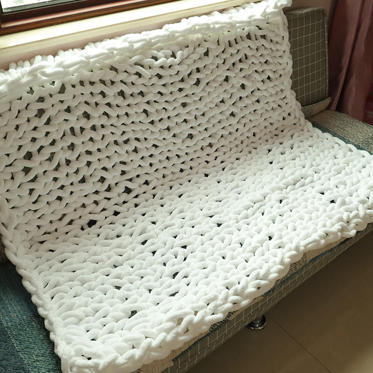 100x150cm Handmade Knitted Blanket Cotton Soft Washable Lint free Throw Blankets - 5