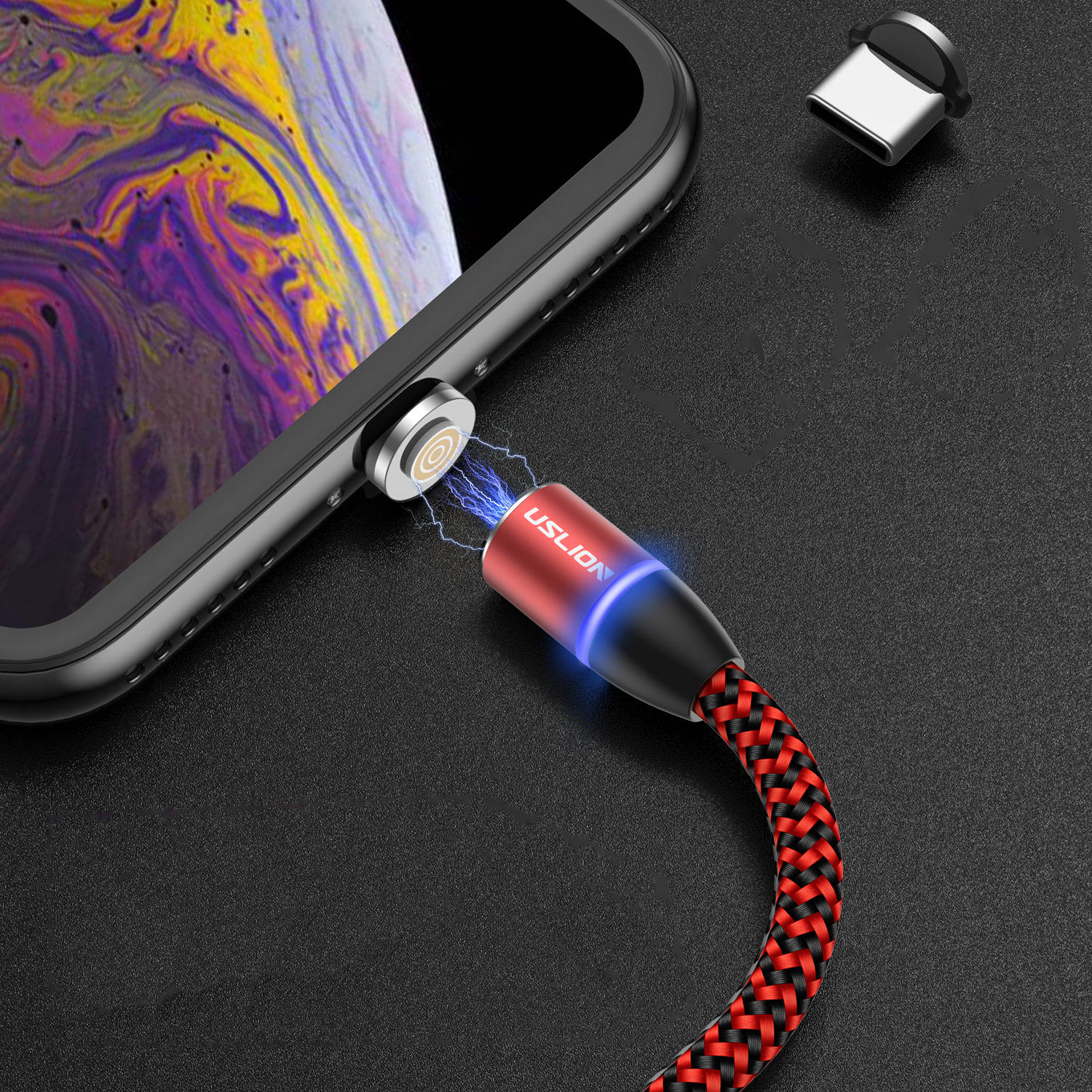 USLION 3A LED 360 Degree Rotate Magnetic TPE Fast Charging 1M Type-C Data Cable for Samsung S10+ Xiaomi Redmi Note8 HUAWEI P30Pro