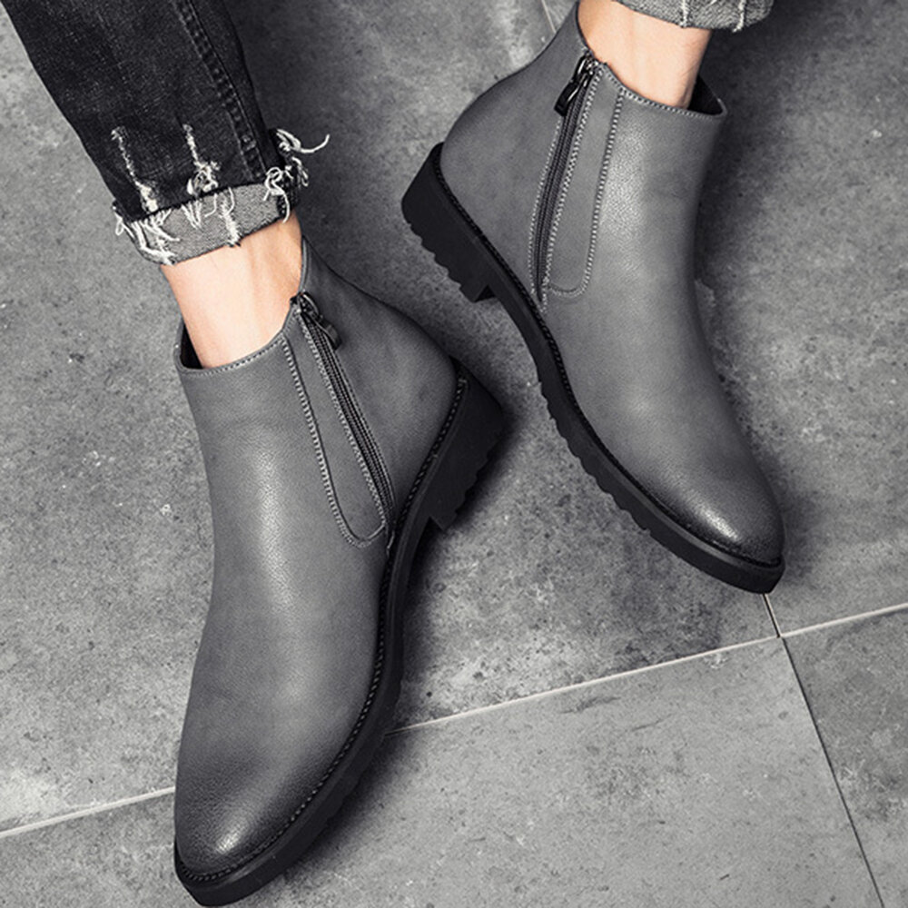 Microfiber Leather Pure Color Business Casual Ankle Boots - 5
