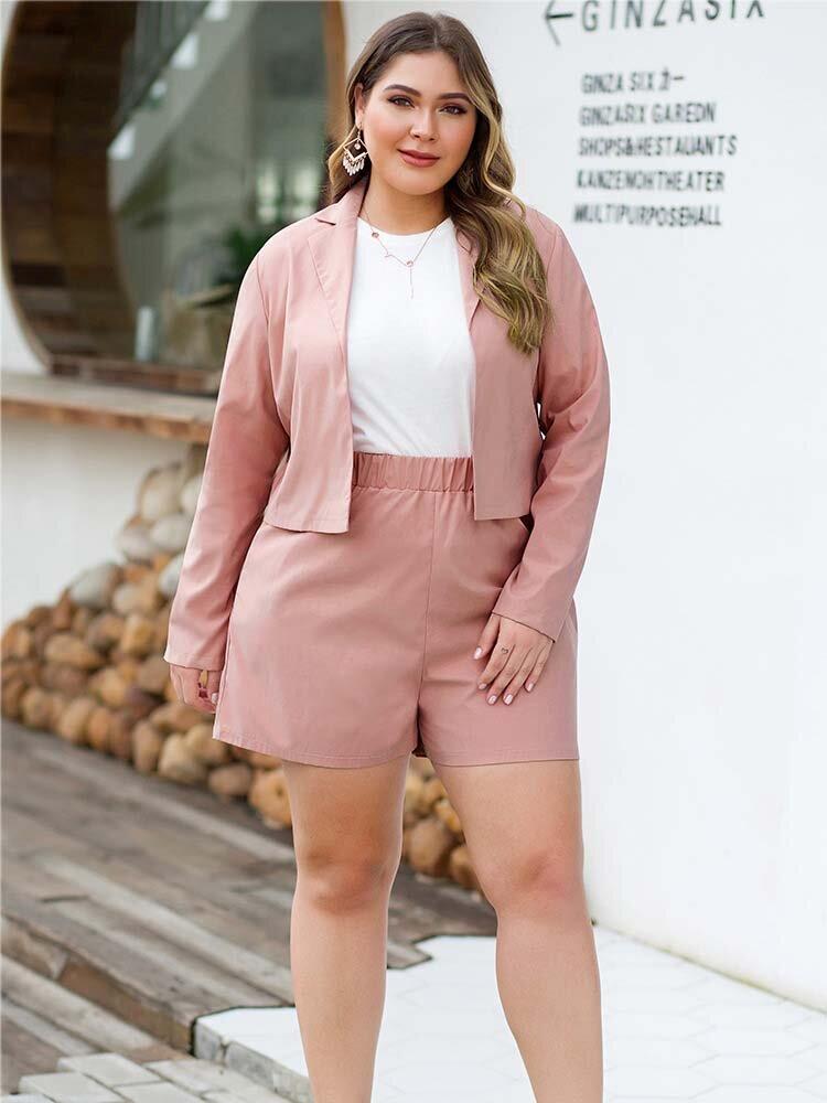 Plus Size Women Two-piece Set Suit Office Coats High Waist Wide Leg Shorts