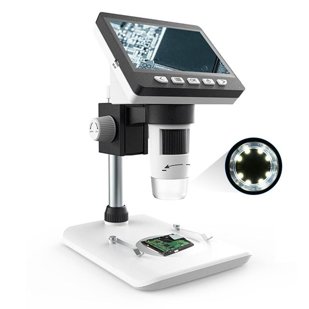 MUSTOOL G700 4.3 Inches HD 1080P Portable Desktop LCD Digital Microscope Support 10 Languages 8 Adjustable High Brightness LED With Adjustable Bracket Picture Capture Video Recording
