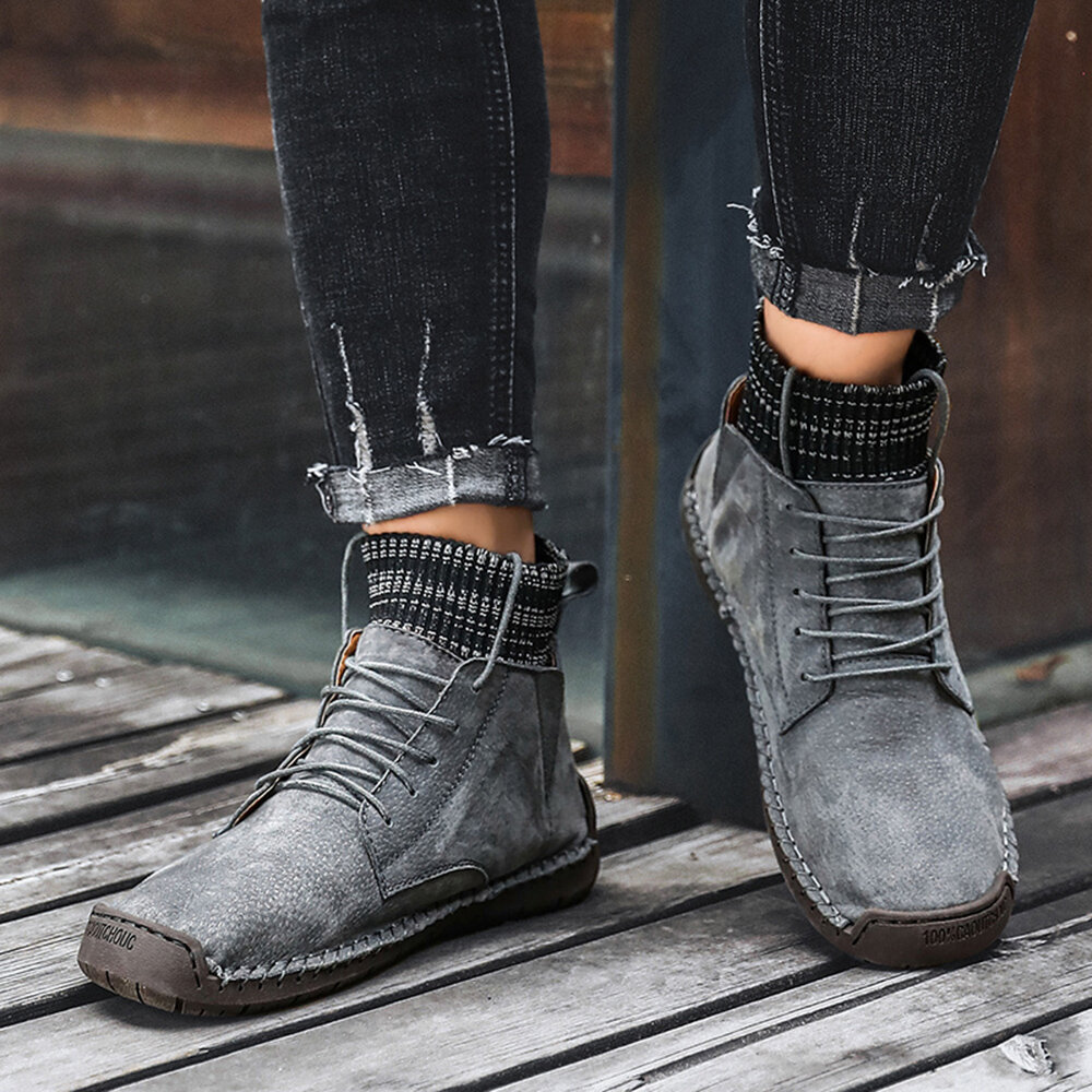 Menico Men Hand Stitching Non Slip Metal Buckle Casual Leather Boots - 11