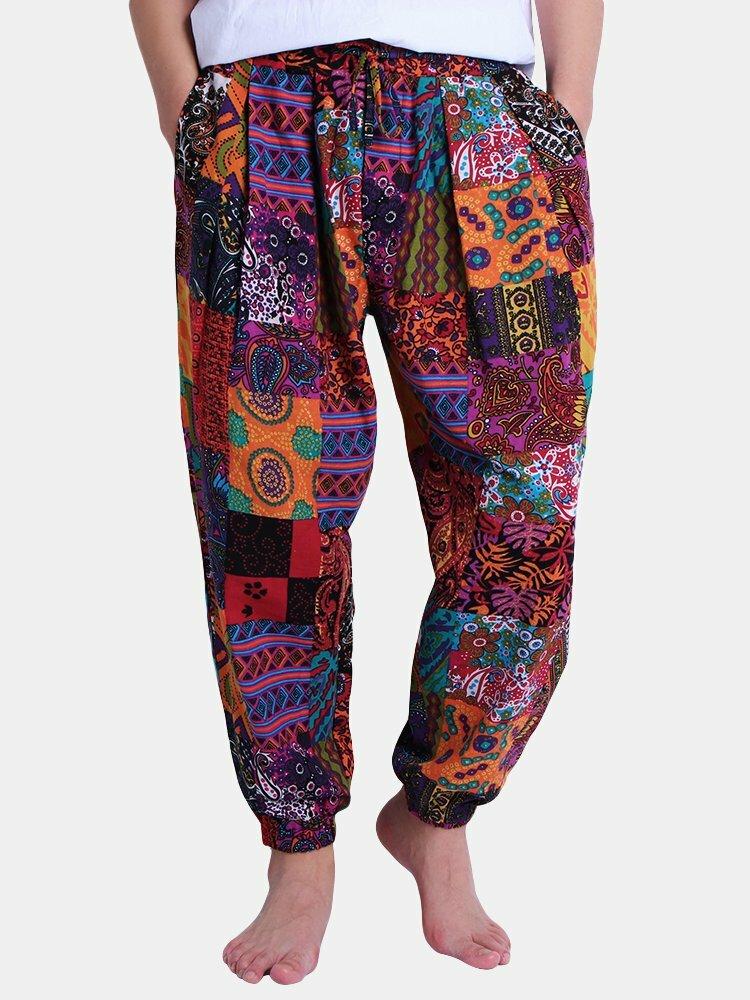 Mens Ethnic Style Printed Elastic Waist Drawstring Loose Cotton Casual Harem Pants