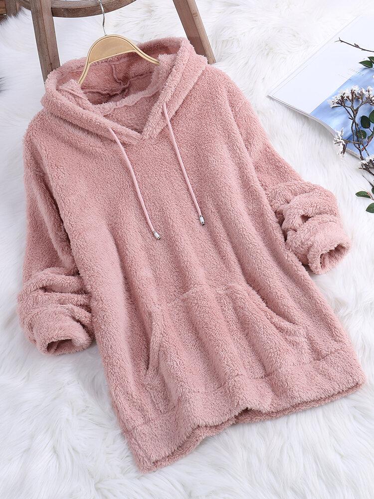 Fleece Rabbit Ears Hooded Long Sleeve Sweatshirt