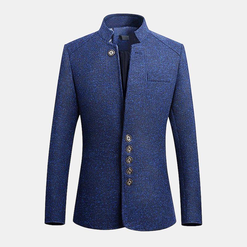 Mens Stand Collar Casual Delgado chaqueta de estilo británico caballero abrigos