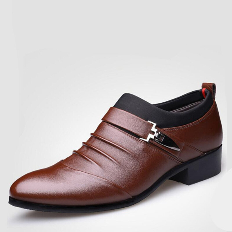 Non-Slip Casual Hand Stitching Leather Soft Sole Walking Oxfords - 3