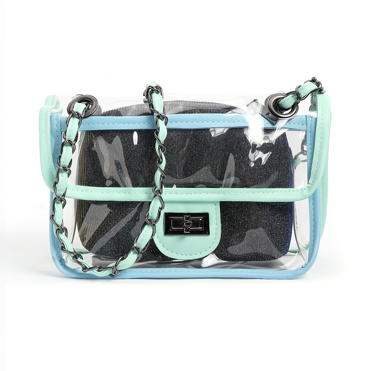 Green PVC Crossbody bags with Small PU Bags - 1