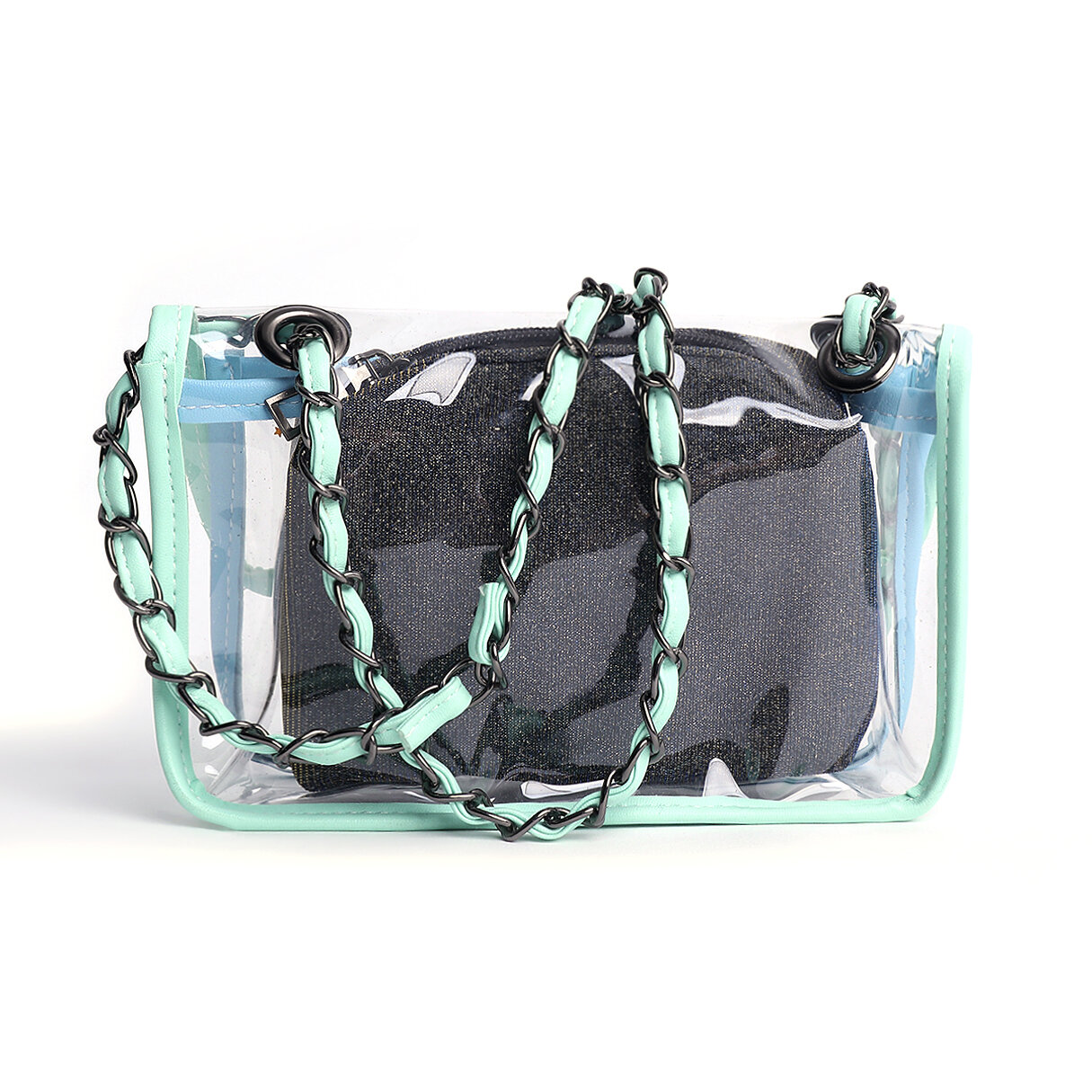 Green PVC Crossbody bags with Small PU Bags - 4