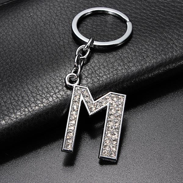 Simple Style Charm Letter Initial Key Ring Shiny Crystal Silver Key Chain Tag - 10