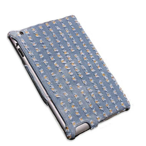 Vải denim Microfiber dập nổi phong cách da trường hợp da cho iPad 2 3