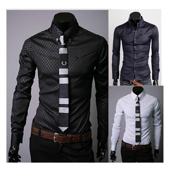 Mens Plaid Stylish Dress Shirts Casual Slim Long Shirt