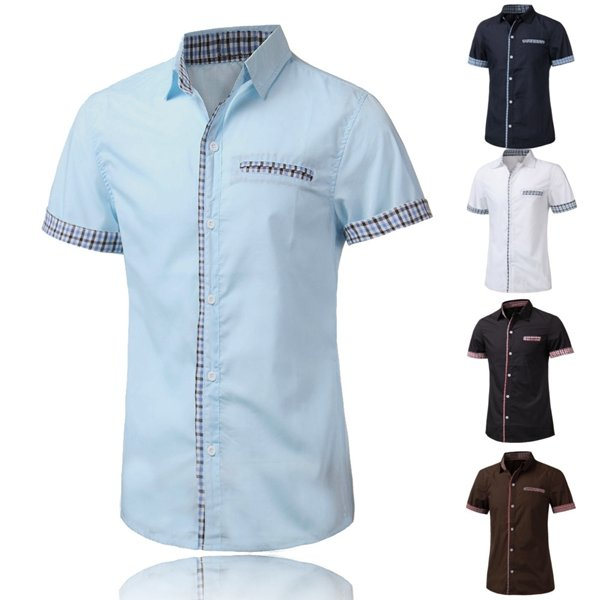 Mens Fashion Plaid Grid Spell Color Short Sleeve Dress Shirt