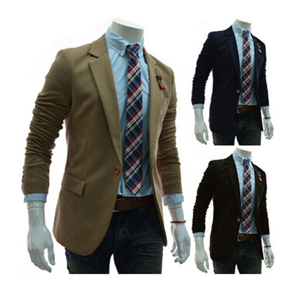 Mens Fashion Suits Slim Casual Solid Color One Button Fit Business - 1