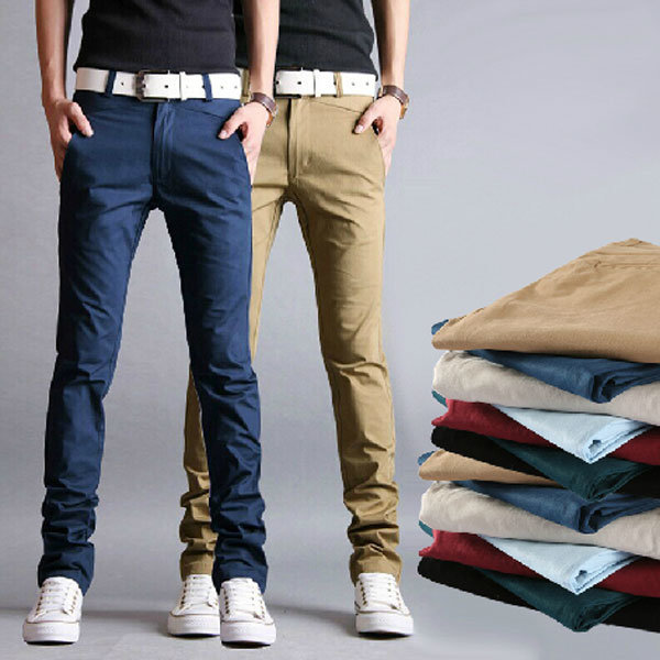 Men's Casual Slim Fit Pencil Cotton Chino Pants