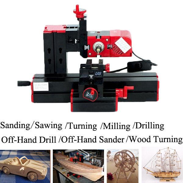6 in1 DIY Drilling Milling Grinder Sawing Metal Lathe Machine Fast Shipping