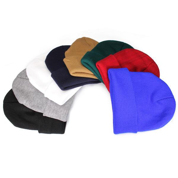 Thời trang Casual Unisex Solid Color Soft Mũ len đan trơn