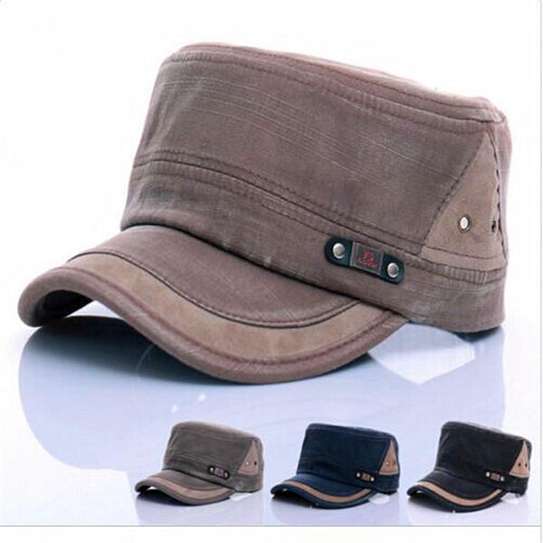 361d7363327c75 Unisex Cotton Blend Military Washed Baseball Cap Vintage Army Plain Flat  Cadet Hat For Men Women - Beige COD