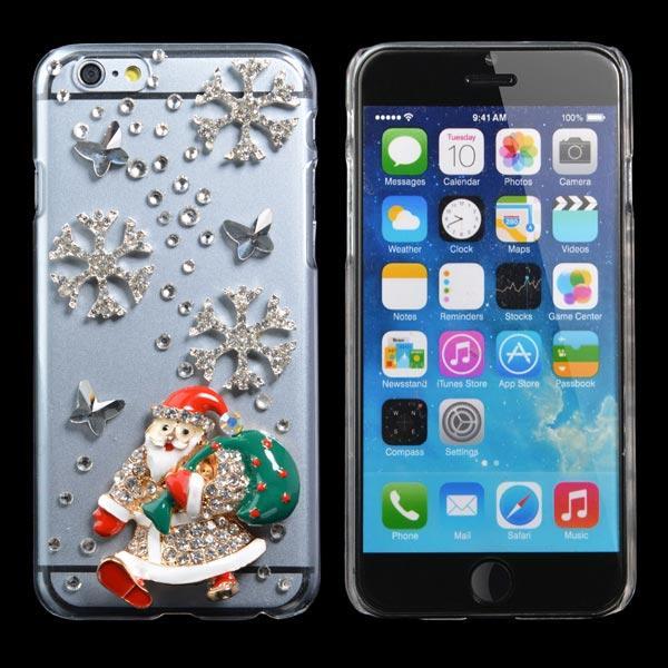 Julegave Håndlaget Bling Santa Claus Case Cover For iPhone 6