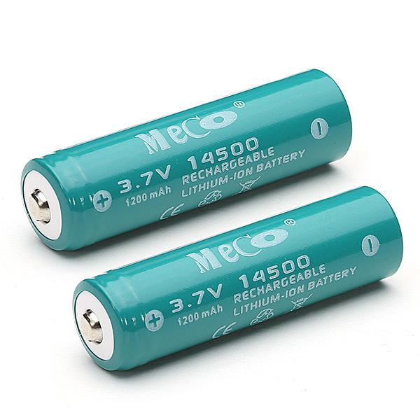 2pcs MECO 3.7V 1200mAh Rechargeable 14500 Li-ion Battery