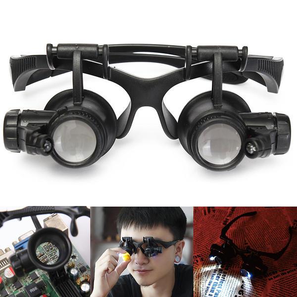 10X 15X 20X 25X LED Magnifier Loupe Glasses Double Eye Jeweler Watch Repair Changable Lens - 2