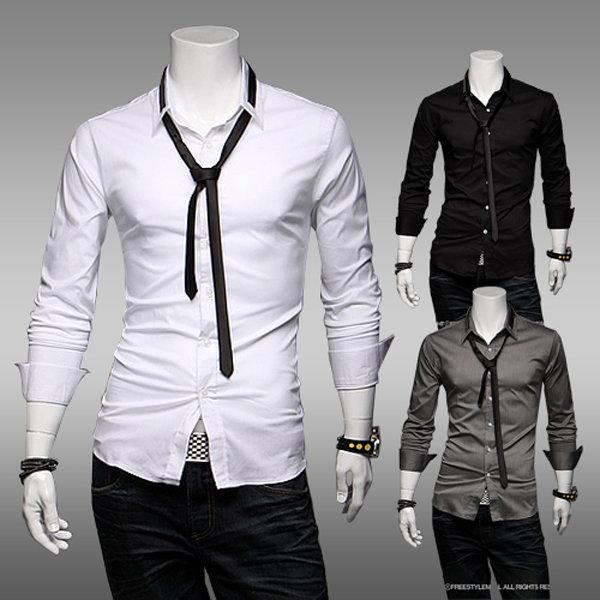Men's Fashion Casual Trim Slim Fit Dress Shirt 3 Colors