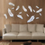 3D Multi-color Feather Silver DIY Shape Mirror Wall Stickers Home Wall Bedroom Office Decor