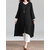 Vintage Women Solid Loose Round Neck Button Down Front 3/4 Sleeve Dress