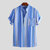 ChArmkpR Men Colorful Mix Stripe Short Sleeve Henley Shirts