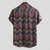 Mens Weave Striped Printed Chevron Stand Collar Short Sleeve Loose Henley Shirts
