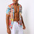 Mens Summer Multi Color Grattifi Printing Practical Pocket Short Sleeve Casual Shirts
