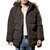 Mens Winter Windproof Multi Pockets Zipper Buttons Solid Color Furry Hood Warm Padded Jacket Parka